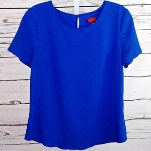 4 for $25 Merona blue polka dot blouse size M